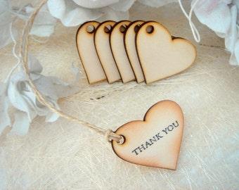 100 Wedding  Heart ,Thank you tags, Wedding Wood  Favor Tags,Wood hearts,