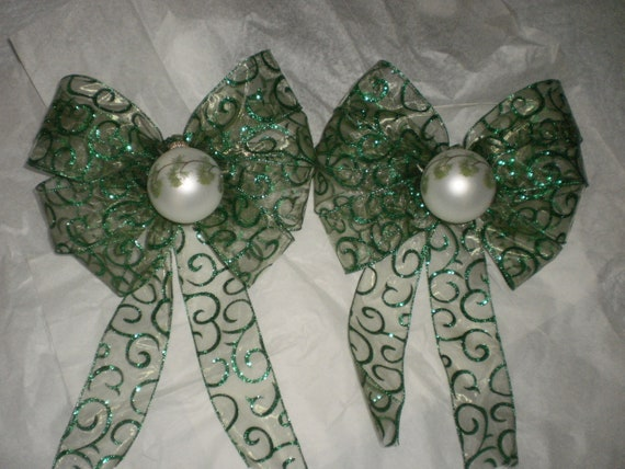 Green Wreath Bows - It's A Pine Christmas After All Christmas Bows - Matching Set of Two 9 Inch Width with Trails