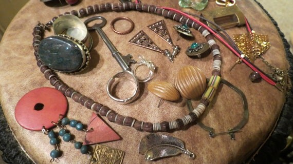 Destash Tipsy Gypsy Lot / Copper / Leather / Rings / Brass / Beads / Upcycle Supplies