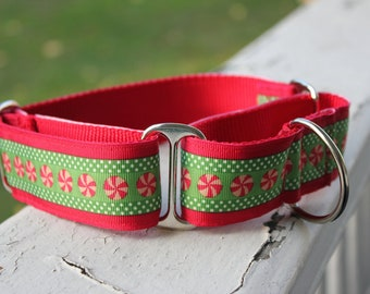 "Chyna's Christmas Peppermints 1.5"" Martingale Collar"