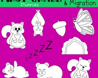 Hibernation & Migration Digital Line Art Set Bears Bats Squirrels Monarch Butterfly Cave -- BUY 2 Get 1 FREE