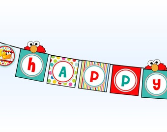 Elmo Happy Birthday Banner- Sesame Street Happy Birthday Banner - Elmo Dorothy Happy Birthday Banner - Birthday Party Printable