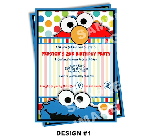 Sesame Street Invitation - Elmo Invitation - Cookie Monster Invitation - Party Printable Invitation - Photo Option -- 6 Design Options