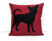 Chihuahua Pillow Cover - burgundy and black - dog pillow - decorative pillow - sofa pillow - cojín del sofá