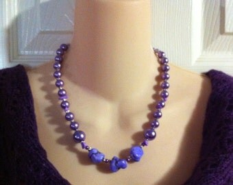"""Purple Dyed Semi-precious Nugget and Purple Glass Pearl  Necklace approx 19"""""""