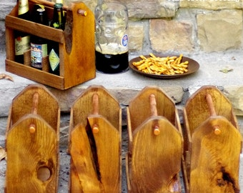 7 Wooden Six Pack Carriers - Beer Caddy- QTY 7 - Bottle Opener -Free Shipping -Father of Bride Gift- Best Man - Groomsmen Gift