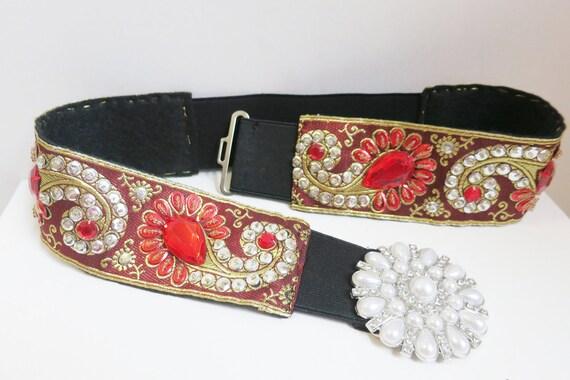 Stretch vintage belt, Crimson Red stones,sequin handwork,pearl buckle,cummerbund,waistband M/L