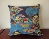 Free Shipping within Australia - Japanese Kimono Cushion Cover - Blue Fans