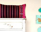 Anthropologie Inspired.  Burgundy & Hot Pink modern tribal aztec pillow cover.  Bolster Pillow 12x21.