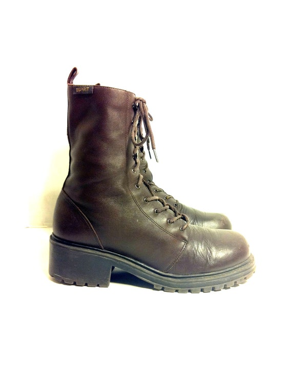Perfect Brown Cuffed Combat Boots Women