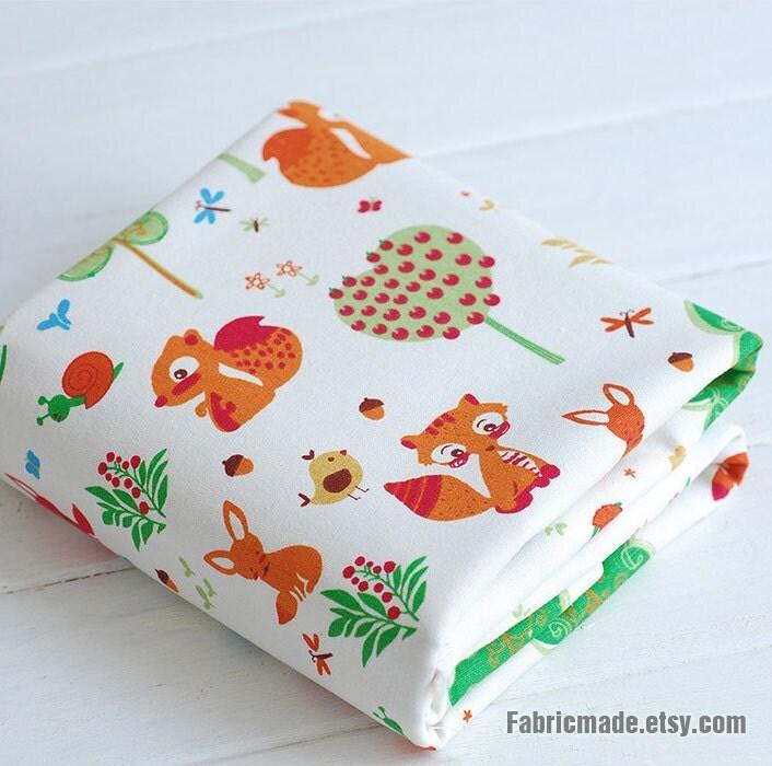 Cartoon kids fabric cute bird fox squirrel cotton linen for Cute childrens fabric