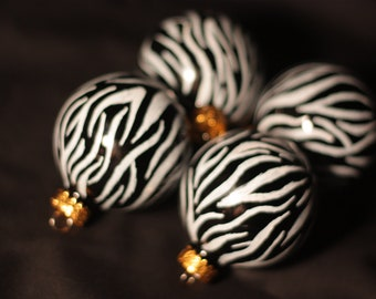 Black & Hot Pink Zebra Ornaments