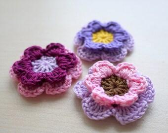 Flower Embellishments - Purple Set