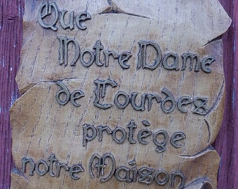 Vintage Wooden plaque of our Lady of Lourdes