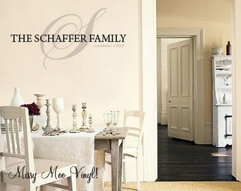 Vinyl Wall Decal Sticker Custom family Name PERFECT GIFT monogram home decor