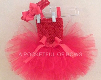 Hot Pink Toddler Tutu Dress, Birthday Tutu Dress, First Birthday Outfit