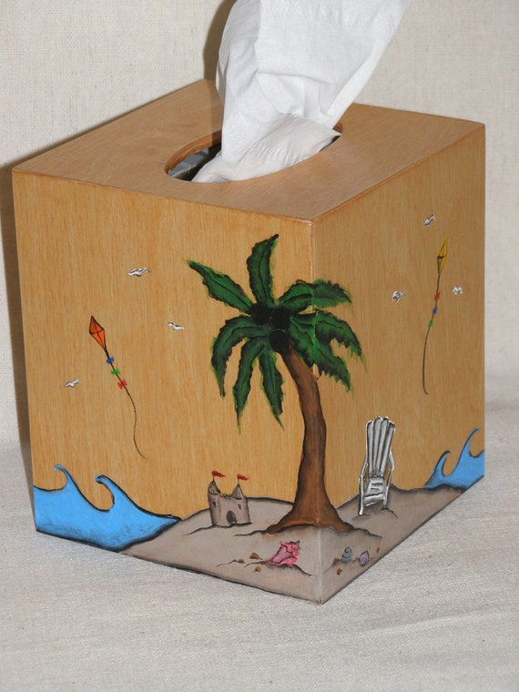 Items similar to beach themed wooden tissue box cover on etsy - Beach themed tissue box cover ...