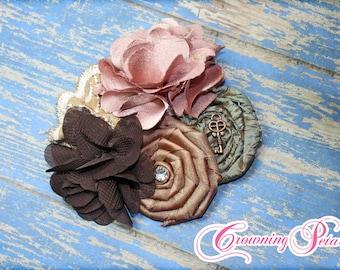 Olive, Dusty Pink, Brown Headband, Hair Bow, Fabric Flowers, Baby Hair Accessory, Hair Clip, Fabric Flower Brooch, Tan, Mauve Hair Piece