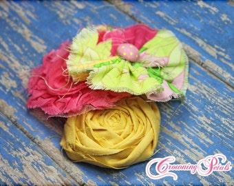 Pink, Yellow Headband, Hair Accessories, Fabric Flower Headband, Flower Brooch, Baby Hair Bow, Flower Hair Clip, Hair Piece
