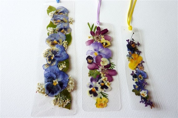 Laminated pressed flower bookmarks with yellow lavender and