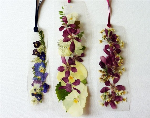 Laminated pressed flower bookmarks with burgundy and by