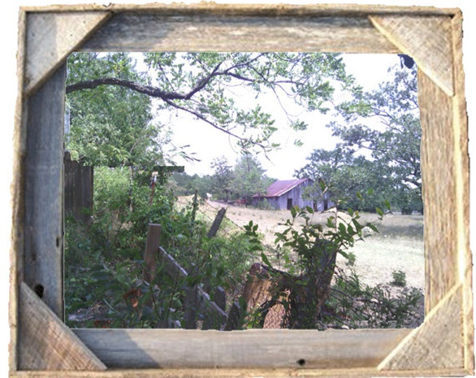 Old Barn with mules photo taken by me framed in Rustic, Weathered Wood Picture Frame 8x10