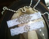 SALE-Wedding Garter - Bridal White or White-Lace Garter Set-Rhinestone Garter-Applique Garter-Vintage-Bridal Garter-