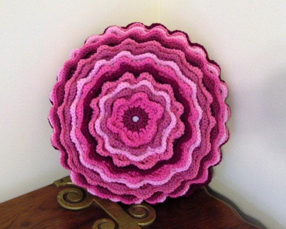 Crochet Accent Throw Pillow  Pinks  Blooming  Flower Motif Magazine Feature