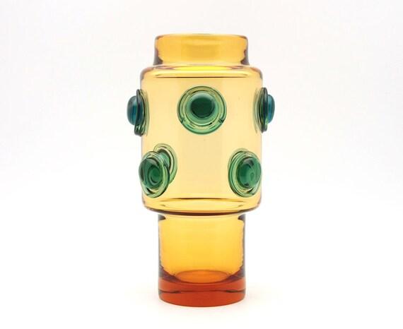 Futuristic glass vase by Josef Hospodka (40102/81166, Prachen Glassworsk)