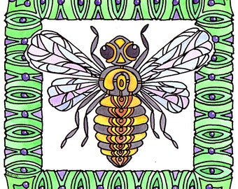 Bee Original Drawing Watercolour Whimsical Abstract Art Nouveau