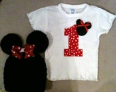 Minnie Mouse first 1st birthday outfit for girls - ruffle shirt with matching crochet Minnie Mouse hat and bow