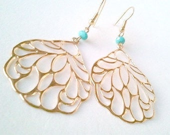 SALE Butterfly Earrings - Wing Earrings - Butterfly Wing Earrings with Turquoise Accent - Gold Dangle Earrings - Gift for Her