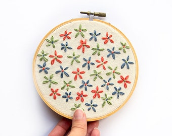 Pastel Blossoms Hoop Art, 5 Inch Modern Wall Art, Floral, tropical, Hand Embroidered Contemporary Stitched Wall Decoration