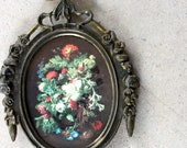 Ornate Small Metal Framed Floral Print Made In Italy