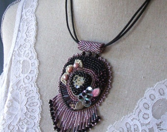 Bead embroidered leather necklace - Black mauve beaded necklace