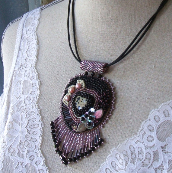 Bead embroidered leather necklace black mauve beaded