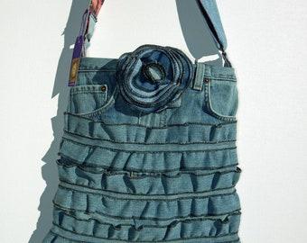 Peace Denim Ruffle Cross Body Bag
