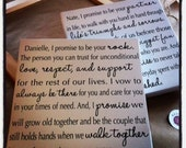 Set of 2, Custom Wedding Vows on canvas, personalized wedding gift, for the bride and groom, Mr and Mrs, cotton anniversary gift