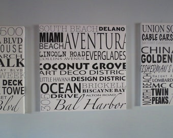 Personalized Word ARt, 20x20 Custom Canvas, updated Transit style typography, Custom travel sign