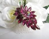 Flower Hair Comb,Ruby Red Bridal Hair Accessories,Red Bridal Hair Comb, Red Bridal Jewelry,Red Bridal Hair Piece, Red Wedding Hair