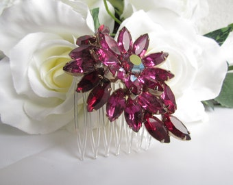 Flower Hair Comb,Ruby Red Bridal Hair Accessories,Red Bridal Hair Comb, Red Bridal Jewelry,Red Bridal Hair Piece, Red Wedding Hair