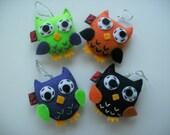 Embroidery Ornament Eco Felt Owl Party Favor Ornament SET OF 4 Softie Gift Decor