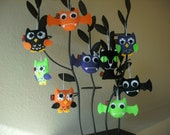 Owl Bat Cat Felt Party Favor Ornament SET OF 9 Softie Gift Decor