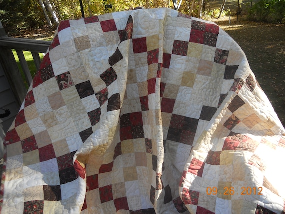 Barefoot on the Porch Quilt, red, brown, tan, white, floral, 58x70 inches, lap quilt, sofa quilt, handmade, Material Things