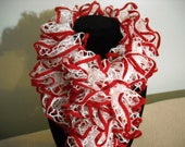 Red and White Ruffle Scarf - White with Red Trim - Handknit - 6 Feet Long - Christmas - Red Wings - Cardinals