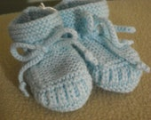Stay-on Blue Baby Booties - Size 3 to 6 Month