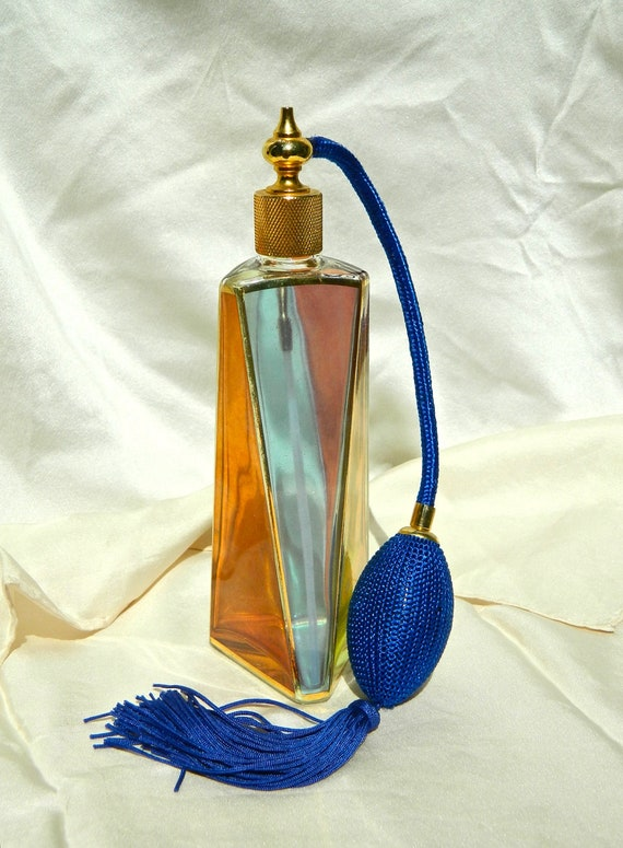 """VINTAGE 1950s Beautiful Gilt Edged Multi-Color Modernist Geometric Flashed Glass Perfume Atomizer - 7 1/2"""" Tall"""