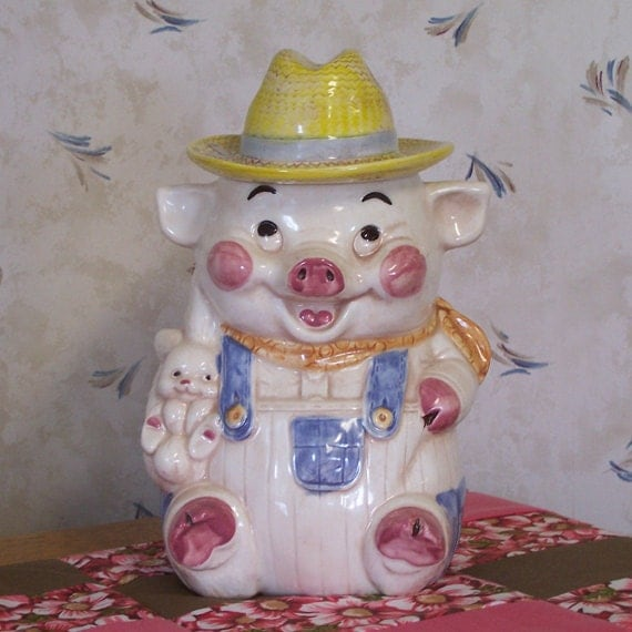 Just Reduced  Charming Farmer Pig Cookie Jar in Overalls and Straw Hat Holding a Bunny Treasure Craft