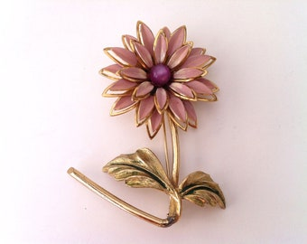 Flower Pin, Purple and Gold Vintage Brooch, Flower Brooch, Women's Jewelry, Large Brooch