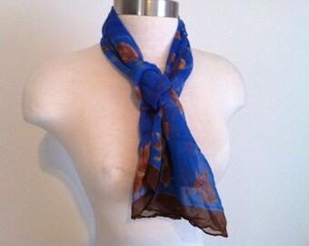 Sheer Vintage Scarf, Silk Scarf, Glentex Blue and Brown Silk Vintage Scarf